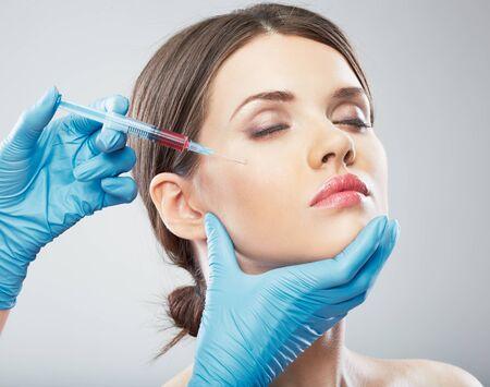 salon: Beauty Woman face surgery close up portrait. Female model. Stock Photo