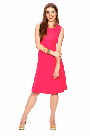 Full body portrait of smiling woman in red dress. Fashion portrait. Stock Photo
