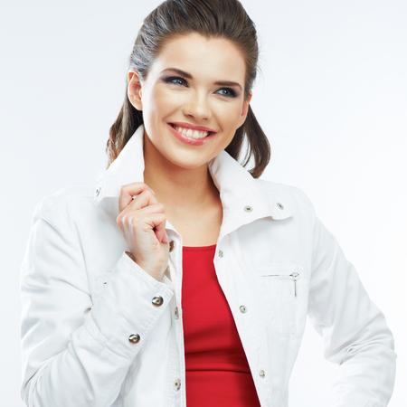 Smiling young woman white background isolated. Studio portrait. 版權商用圖片