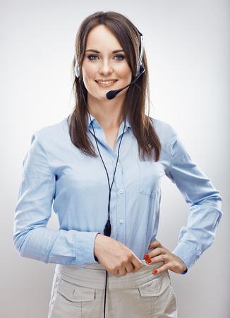 Centrum telefoniczne operatora. Kobieta obsługi klienta. Odosobniony. Zdjęcie Seryjne