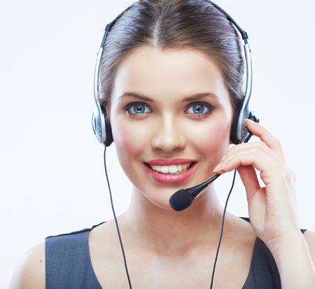 Close up face portrait o woman customer service worker isolated on white background, call centre smiling operator with phone headset.
