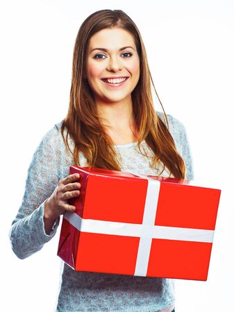 Portrait of happy woman hold gift box. Isolated white background. Young model studio posing.