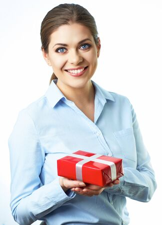 Isolated smiling business woman hold gift box. White background. Isolated.