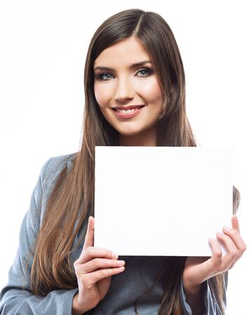 Smile Business woman portrait with blank board isolated white background . Female model with long hair.