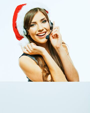 Business woman with banner, white board. Christmas Santa hat. Isolated portrait of business woman. Stockfoto