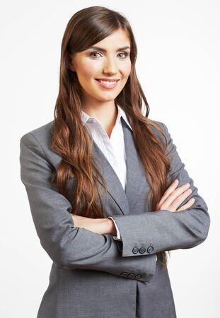Retrato de mujer de negocios, aislado sobre fondo blanco.