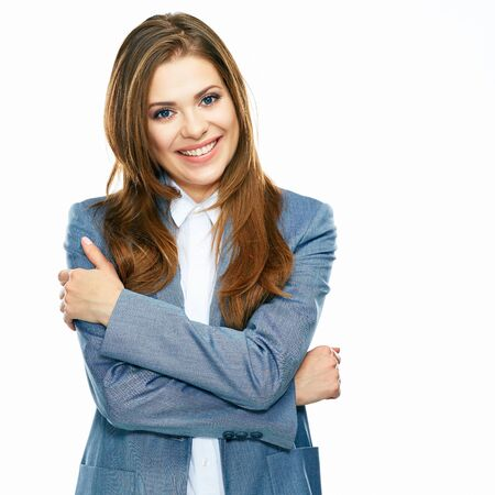 Business woman portrait with crossed arms isolated on white background. Big toothy smile. Young female model.