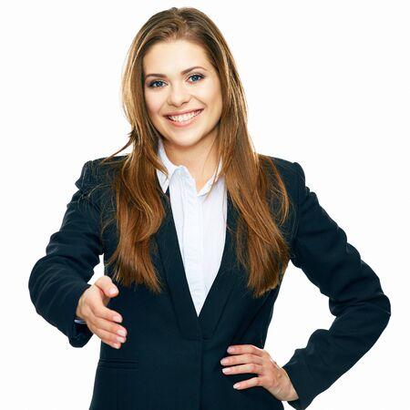 Mujer de negocios dar mano para agitar. fondo blanco retrato aislado.