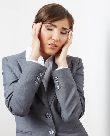 Business woman headache portrait.