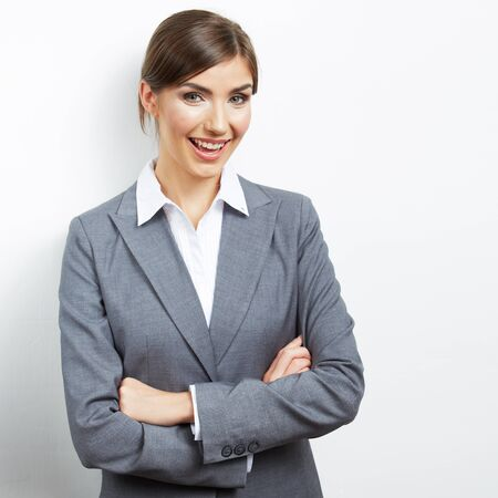 Smile Business woman portrait isolated. Female model with long hair. Stock Photo