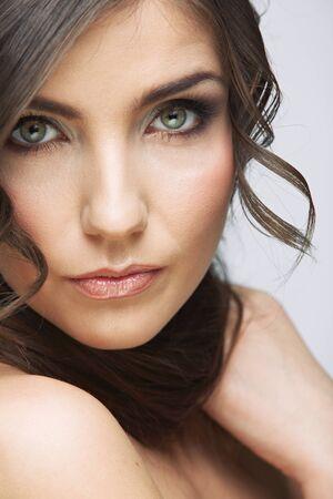 Beauty close up portrait. Woman face. Female model studio portrait. Stock fotó