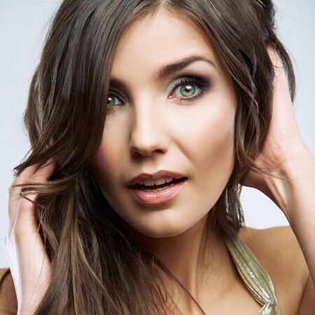 Beauty woman face portrait.  Young beautiful female  model close up, posing in beauty style