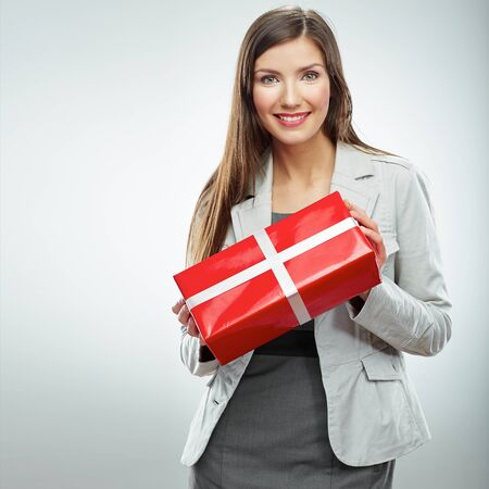 Business woman gift. White background isolated