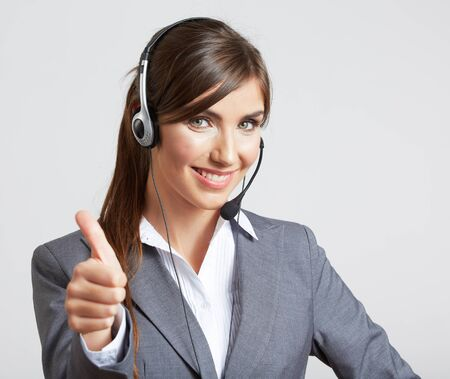 Close up portrait of Woman customer service worker, call center smiling operator with phone headset. Close up female model. Stockfoto