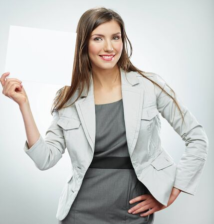 Smile Business woman portrait with blank white banner, board on white isolated . Female business model with long hair.