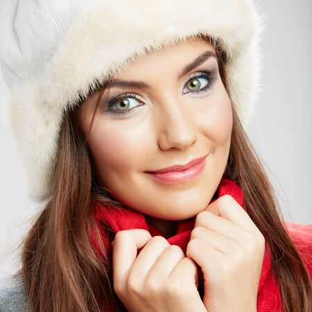 Close up face Portrait of beautiful young woman. winter style