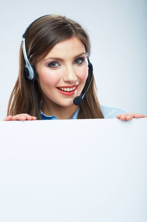 Portrait of woman customer service worker, call center smiling operator with phone headset isolated on white background, white blank banner. Female model.