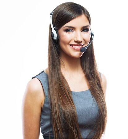 Portrait of woman customer service worker, call center smiling operator with phone headset Stockfoto