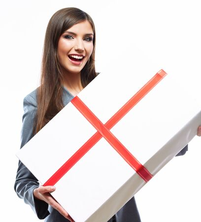 Business woman hold gift box. White background isolated female model