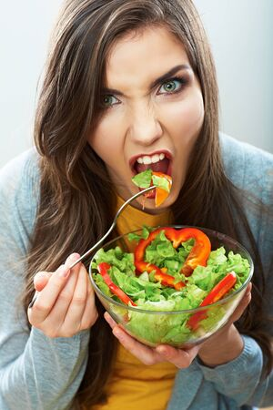 Diet woman isolated portrait. Close up female face. Happy woman.