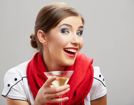 Portrait of a beautiful woman hold wine glass. Holiday life style isolated photo on white background.