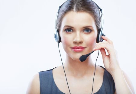 Close up face portrait o woman customer service worker isolated on white background, call center smiling operator with phone headset. Young female model. Imagens