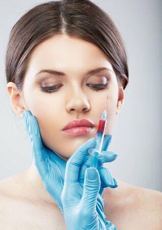 Beauty Woman face surgery close up portrait. Female model. Stockfoto