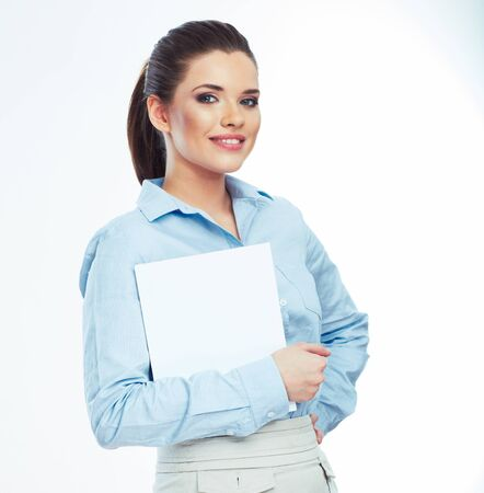 Woman hold white paper banner isolated over white background . Business girl.