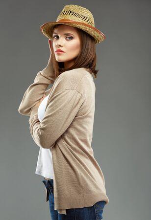 Young woman portrait with hat. Cowboy style portrait.