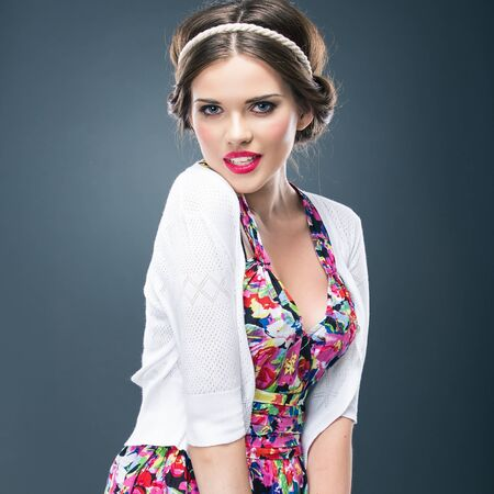 Braid hair style portrait of young model. Woman studio posing Stockfoto