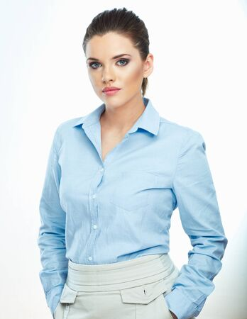 Portrait of confident business woman white background isolated. Business girl.