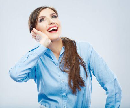 Smiling Business woman portrait. Isolated female model. Фото со стока