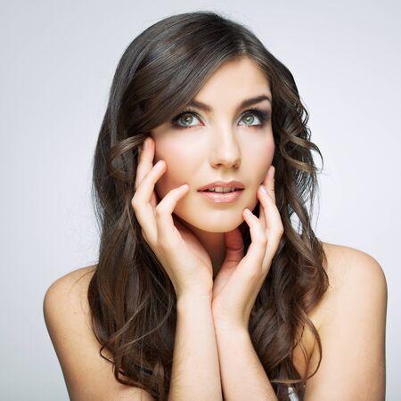 Beauty woman face close up portrait. Female young model. Studio isolated . Фото со стока