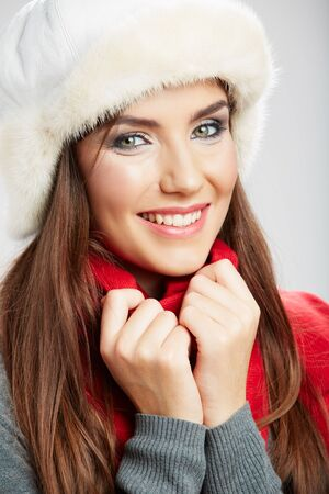 Winter casual style woman close up face portrait isolated on white background.