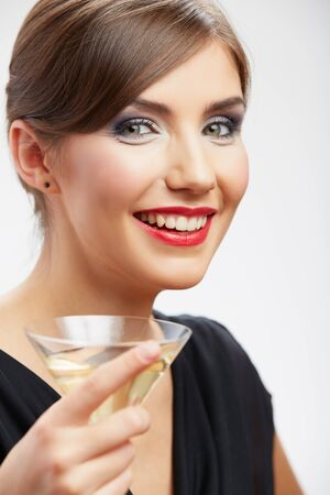 Smiling woman hold wine glass, studio isolated portrait.