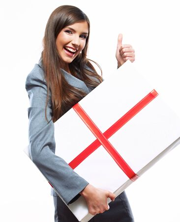 Happy Business woman hold gift box. White background isolated female model Foto de archivo