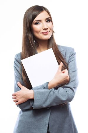 Smile Business woman portrait with blank white board on white isolated . Female model with long hair.