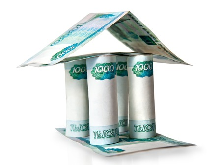 installment: mortgage, house of banknotes, the symbol of loan, mortgage