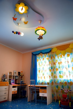 chandelier  kids: Modern room in luxury house. interior of the house