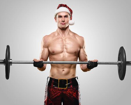 sex santa: Holidays and celebrations, New year, Christmas, sports, bodybuilding, healthy lifestyle - Muscular handsome sexy Santa Claus