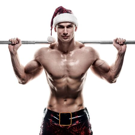 adult sex: Holidays and celebrations, New year, Christmas, sports, bodybuilding, healthy lifestyle - Muscular handsome sexy Santa Claus