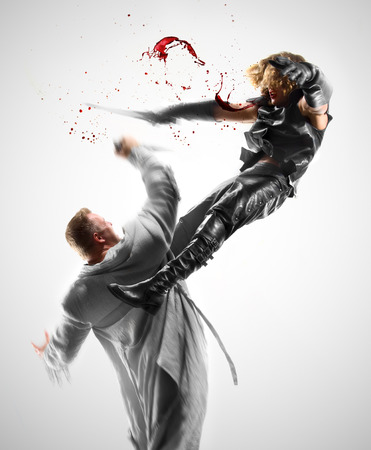 unkind: two men fight with swords, blood, attack, assault, fight with swords