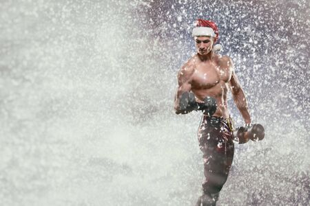 sex santa: Holidays and celebrations, New year, Christmas, sports, bodybuilding, healthy lifestyle - Muscular handsome sexy Santa Claus, Ded Moroz