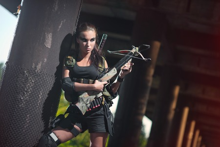 croft: a sexy woman in military uniform, Lara Croft style woman, female soldiers, amazon
