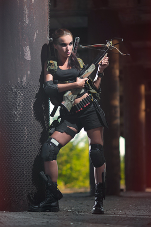 croft: a sexy woman in military uniform, Lara Croft style woman, female soldiers, amazon