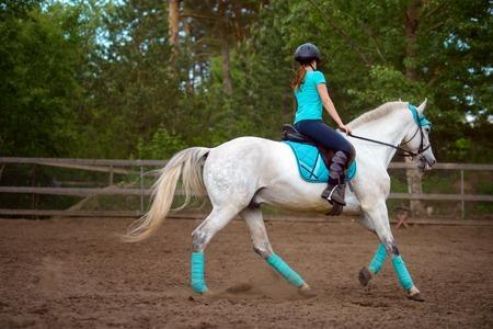 Fille coureur de la course le cheval blanc dans le parcours de course dans la journée d & # 39 ; été Banque d'images - 84333773