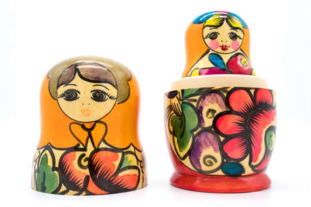 Russian toy matryoshka, on a white background