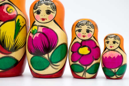 Russian toy matryoshka, on a white background Imagens