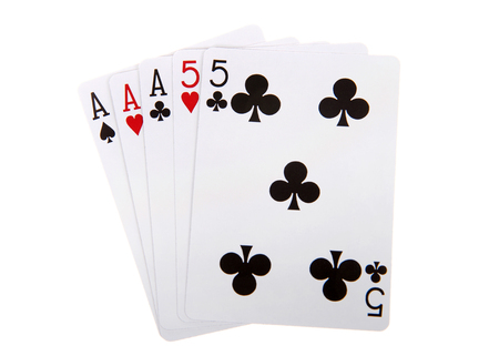 Playing cards, Full House. Three of a kind combined with a pair. Ties are broken by the three of a kind then by the highest pair if necessary. Isolated on white background. Foto de archivo - 116310693