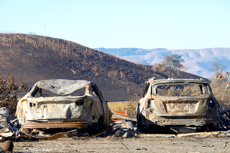 Two cars parked off the road, burned in the North Bay firestorm. Charred landscape in the background. 스톡 콘텐츠